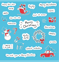 merry christmas hand drawn lettering stickers set vector image vector image
