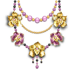 Necklace with Orchids vector image