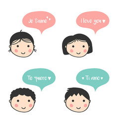 people express their love in different languages vector image