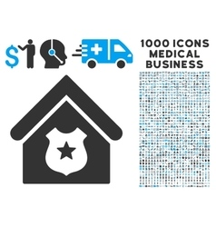 Police Office Icon with 1000 Medical Business vector image
