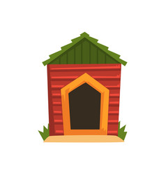 Red wooden doghouse with green roof vector