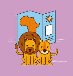 safari africa lion tiger and map navigation travel vector image