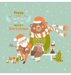 Santa claus is playing guitar for the bear vector