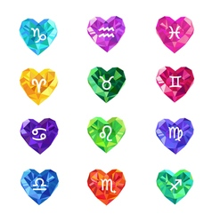 Set of crystal jewel heart shaped astrological vector