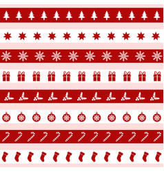 Set of red and white christmas icons vector