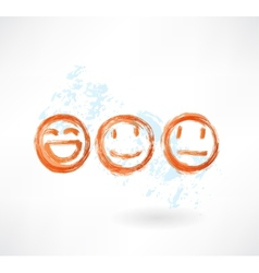 Set smiles grunge icon vector image vector image