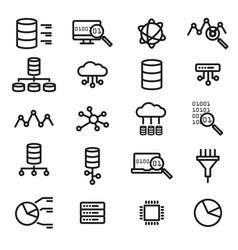 simple set of big data database cloud computing vector image vector image