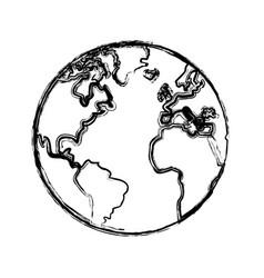 Sketch globe world earth map icon vector