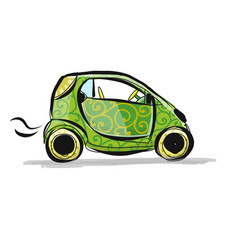 small smart car sketch for your design vector image