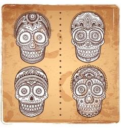 Vintage ethnic hand drawn human skulls set vector