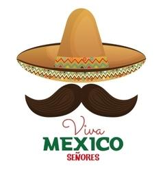 Viva mexico moustache and hat design vector