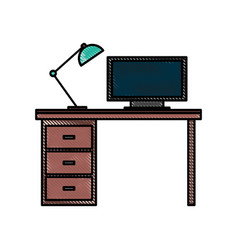 wooden desk computer lamp workspace furniture vector image