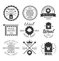 Wool labels and elements stickers emblems vector