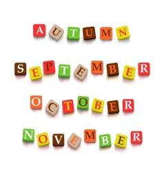 Words autumn september october novtember with vector
