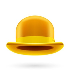 Yellow bowler hat vector