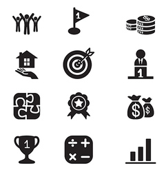 Silhouette business goal concept icons set vector