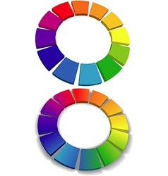 Color wheel set 3D wheels colors choice vector image