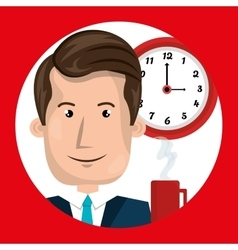 Man clock cup coffee vector