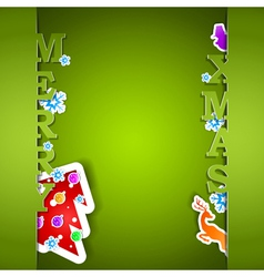 Merry xmas green card eps10 vector