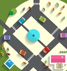 Top view streets and cars vector