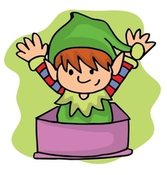 Elf helper on gift box Christmas vector image