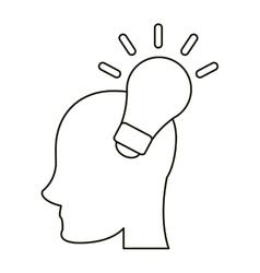 head human new idea bulb outline vector image