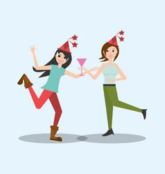 happy women dancing style vector image