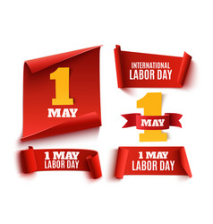 Set of five red realistic1 may labor day banners vector