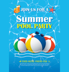 pool party invitation poster with blue water vector image
