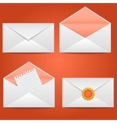 Set of envelopes open closed sealed with a letter vector