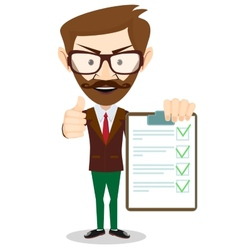 Hipster holding a paper with green flags vector