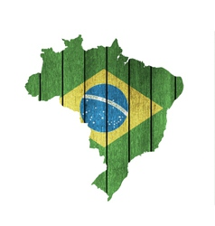 Brazilian map with wooden flag vector