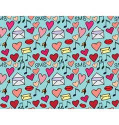 Seamless pattern of loving hearts vector image