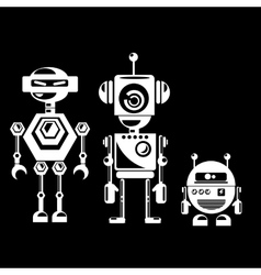 Flat design style robots and cyborgs vector