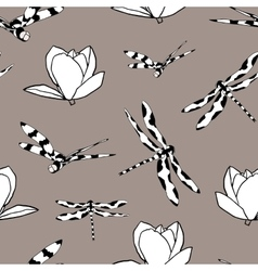 Seamless pattern with dragonflies and magnolias vector image