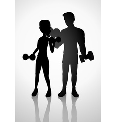 Man and woman exercising with dumbbells vector