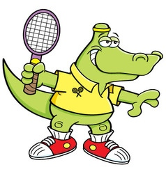 Cartoon alligator playing tennis vector