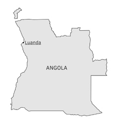 Angola silhouette map with luanda capital vector