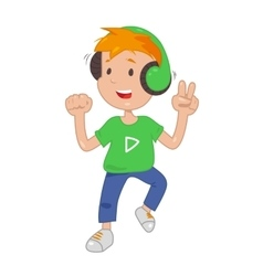 Baby in headphones listening music icon vector