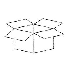 cardboard box opened in black dotted contour vector image
