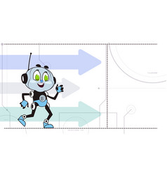 Chatbot robot over arrows background support vector
