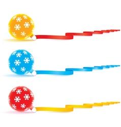 Christmas bulbs and ribbons vector image