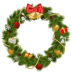 Christmas wreath with golden bells vector