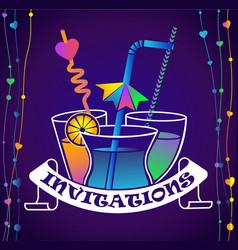 Cocktail party invitation dark background vector