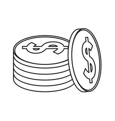 coins currency money stack thin line vector image