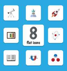 Flat icon science set of diagram flame lecture vector