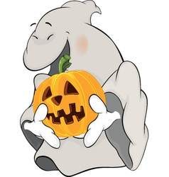 Ghost and a pumpkin cartoon vector image vector image