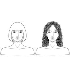 Girl black white vector