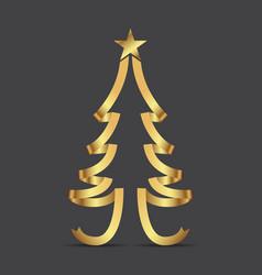 golden ribbon christmas tree and stars vector image
