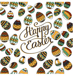 Happy easter unique lettering poster vector